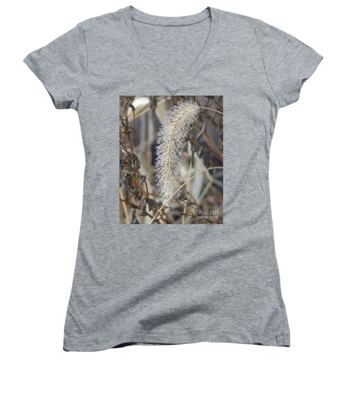 Women's V-Neck T-Shirt (Junior Cut) featuring the photograph Foxtail Fur by Christina Verdgeline