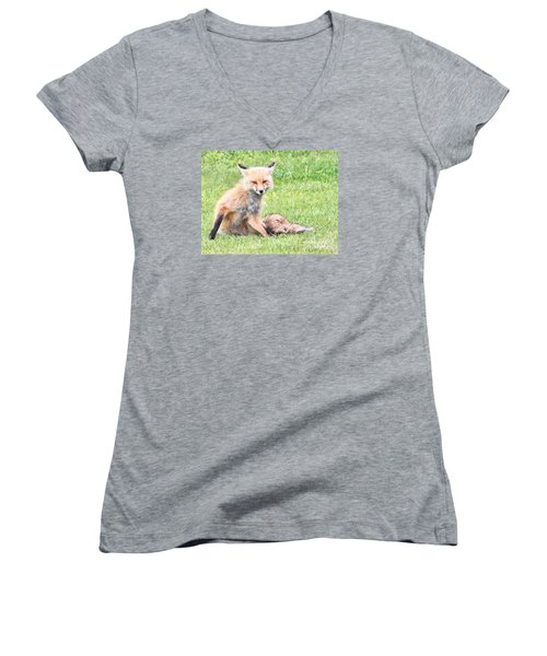 Women's V-Neck T-Shirt (Junior Cut) featuring the photograph Foxy by Debbie Stahre