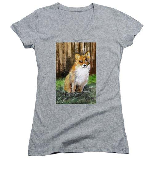 Foxy Lady Women's V-Neck T-Shirt (Junior Cut) by Carole Robins