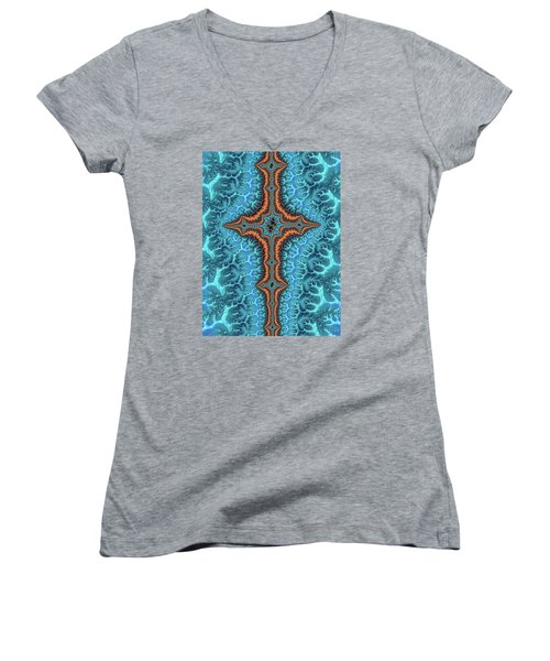 Women's V-Neck featuring the digital art Fractal Cross Turquoise And Orange by Matthias Hauser
