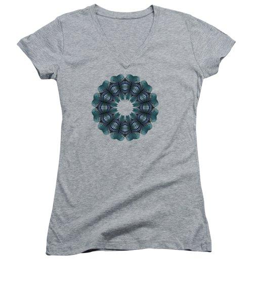 Fractal Wreath-32 Teal T-shirt Women's V-Neck