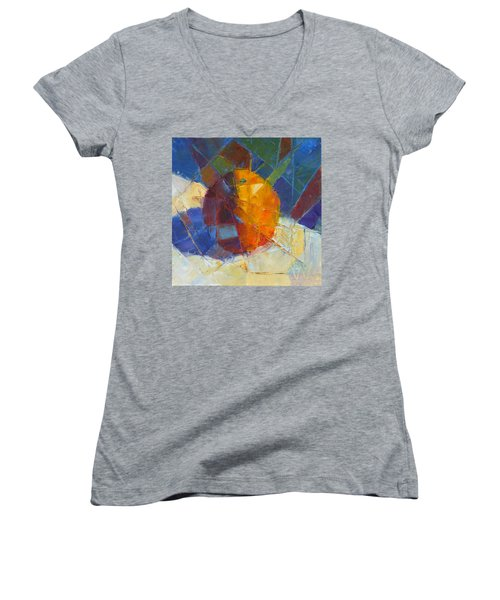 Fractured Orange Women's V-Neck (Athletic Fit)