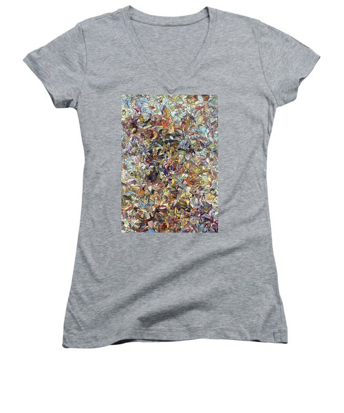 Women's V-Neck T-Shirt (Junior Cut) featuring the painting Fragmented Horse by James W Johnson