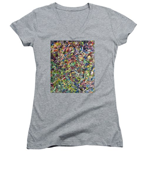 Women's V-Neck T-Shirt (Junior Cut) featuring the painting Fragmented Spring by James W Johnson