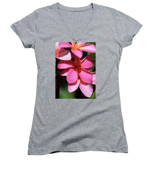 Frangipani Women's V-Neck T-Shirt (Junior Cut) by Mini Arora