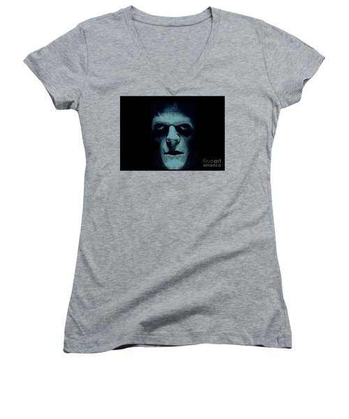 Women's V-Neck T-Shirt (Junior Cut) featuring the photograph Frankenstein by Janette Boyd