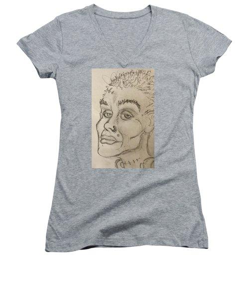 Frankenstein's Neighbor's Roommate's Girlfriend's Sister  Women's V-Neck T-Shirt (Junior Cut) by Yshua The Painter