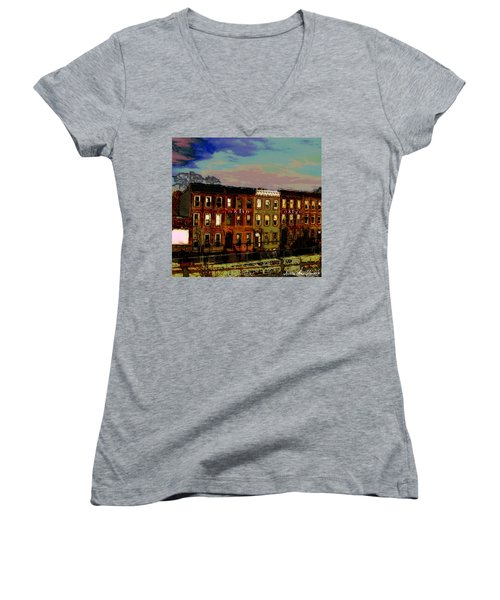 Women's V-Neck T-Shirt (Junior Cut) featuring the photograph Franklin Ave. Bk by Iowan Stone-Flowers