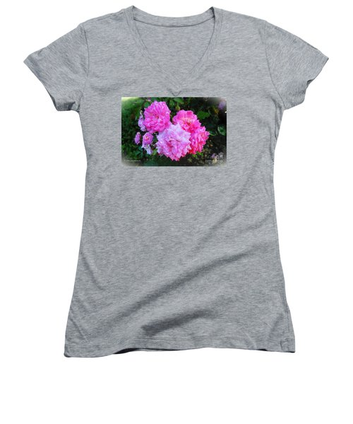 Frank's Roses Women's V-Neck T-Shirt (Junior Cut) by MaryLee Parker
