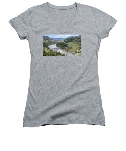 Fraser River Bridge Near Williams Lake Women's V-Neck