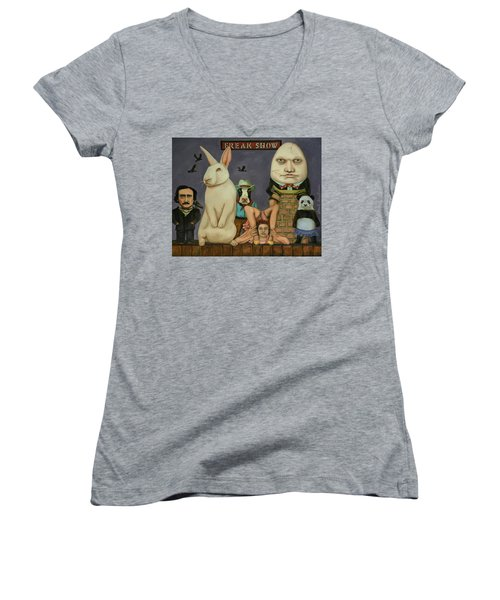 Women's V-Neck T-Shirt (Junior Cut) featuring the painting Freak Show by Leah Saulnier The Painting Maniac