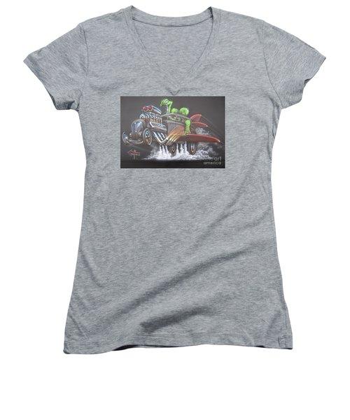 Freakwentflying Women's V-Neck T-Shirt (Junior Cut) by Alan Johnson