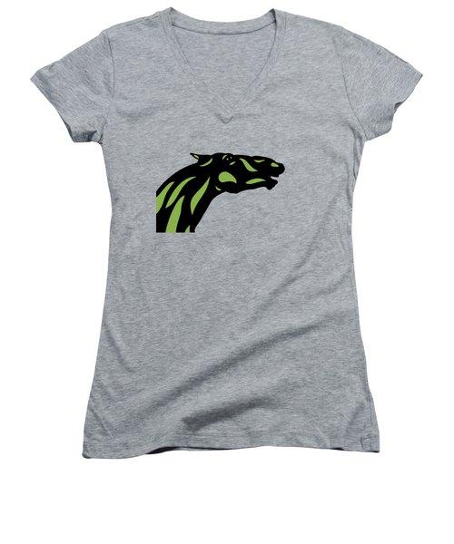 Fred - Pop Art Horse - Black, Greenery, Island Paradise Blue Women's V-Neck