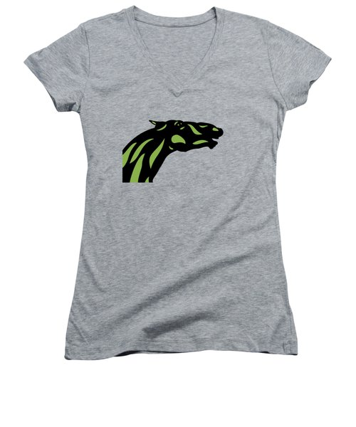 Fred - Pop Art Horse - Black, Greenery, Island Paradise Blue Women's V-Neck (Athletic Fit)
