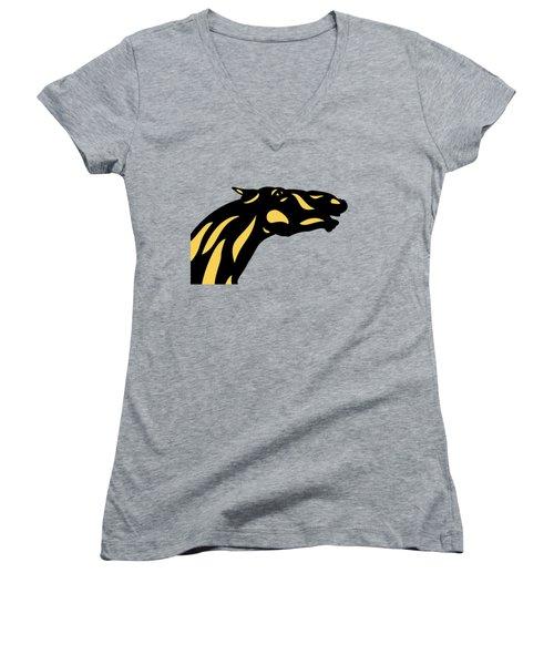 Fred - Pop Art Horse - Black, Primrose Yellow, Hazelnut Women's V-Neck