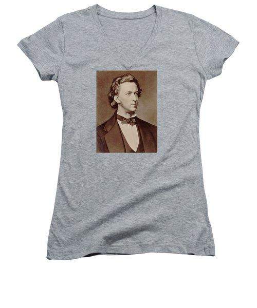 Frederic Chopin Women's V-Neck T-Shirt (Junior Cut) by Tilen Hrovatic