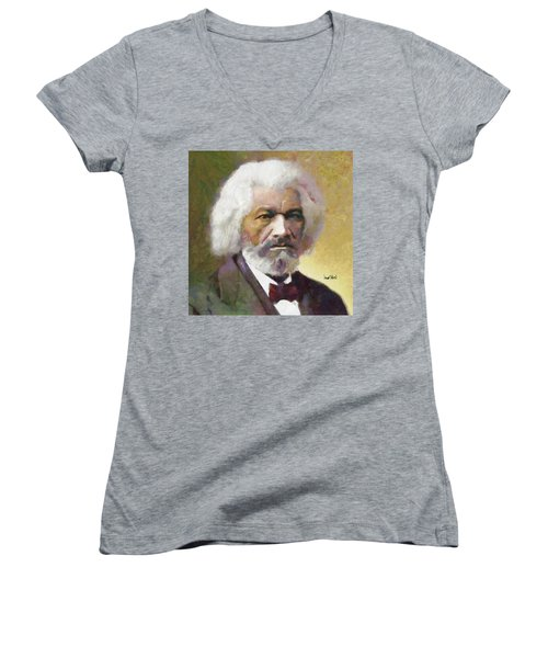 Frederick Douglass Women's V-Neck T-Shirt (Junior Cut)