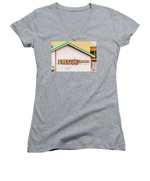Women's V-Neck T-Shirt (Junior Cut) featuring the photograph Free Crabs Tomorrow by Art Block Collections