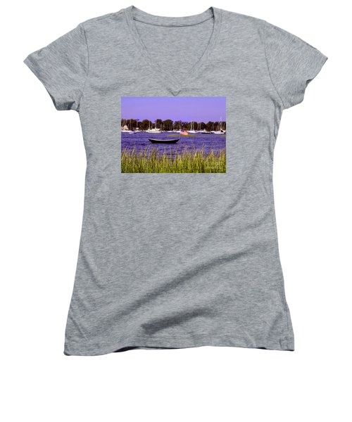 Freedom Bristol Harbor Rhode Island Women's V-Neck T-Shirt (Junior Cut) by Tom Prendergast
