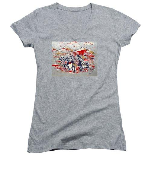 Freedom On The Open Range Women's V-Neck T-Shirt (Junior Cut) by J R Seymour