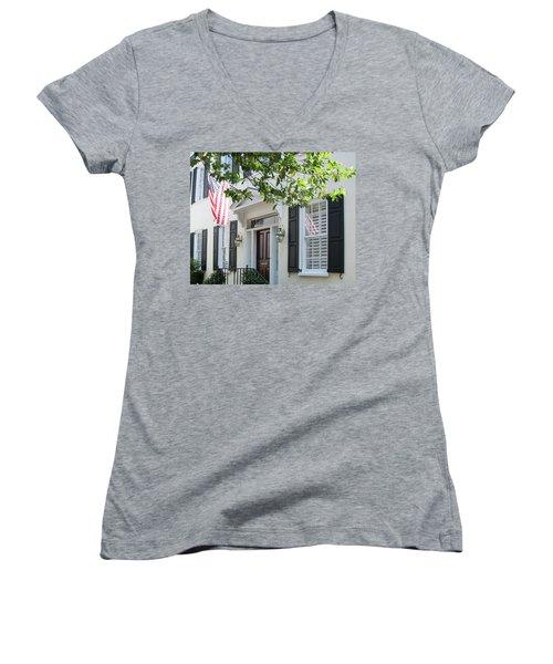 Freedom Reflected Women's V-Neck T-Shirt (Junior Cut) by Ed Waldrop