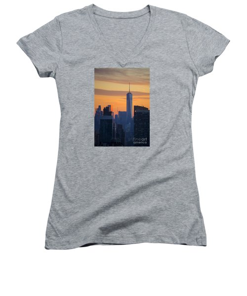 Freedom Tower At Sunset Women's V-Neck T-Shirt (Junior Cut) by Diane Diederich