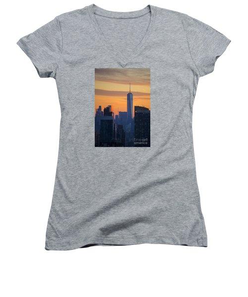 Freedom Tower At Sunset Women's V-Neck T-Shirt (Junior Cut)