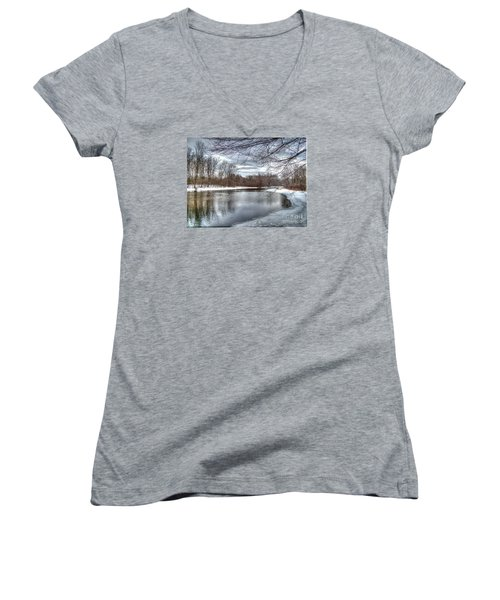 Women's V-Neck T-Shirt (Junior Cut) featuring the photograph Freezing Up by Betsy Zimmerli