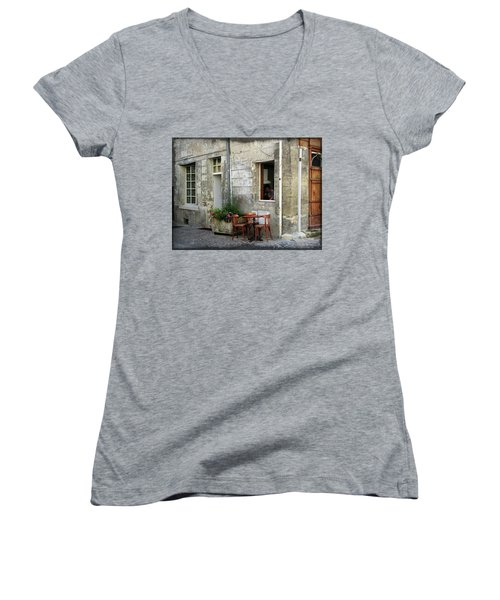 French Countryside Corner Women's V-Neck T-Shirt (Junior Cut) by Joan  Minchak