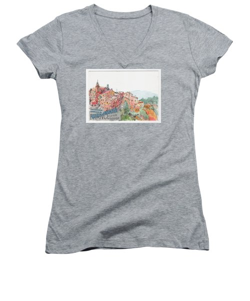 French Hill Top Village Women's V-Neck