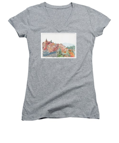 French Hill Top Village Women's V-Neck T-Shirt (Junior Cut)