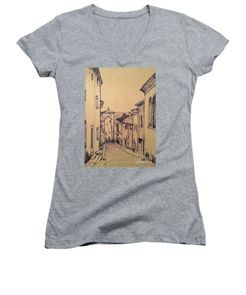 Women's V-Neck T-Shirt (Junior Cut) featuring the drawing French Little Town Drawing by Maja Sokolowska