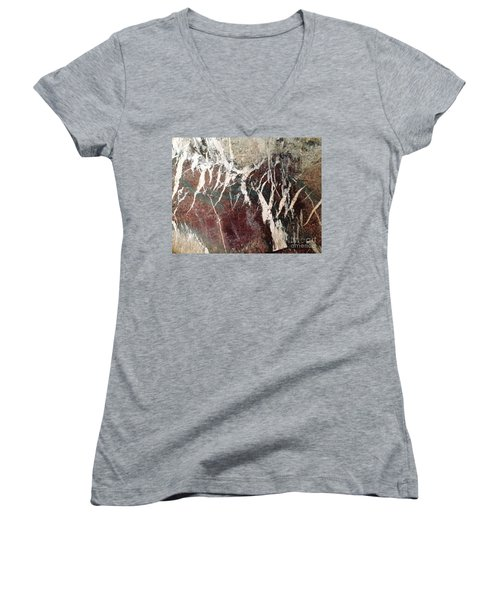 French Marble Women's V-Neck T-Shirt (Junior Cut) by Therese Alcorn