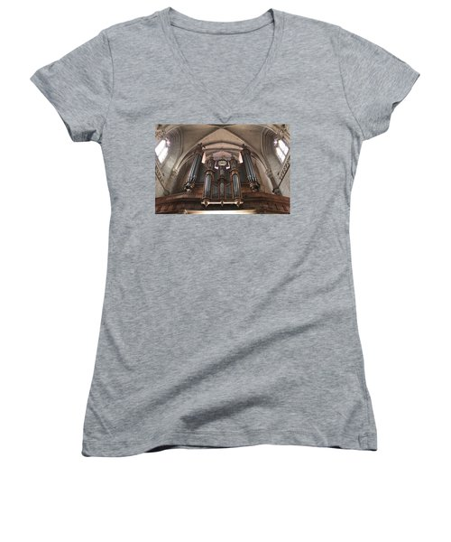 Women's V-Neck T-Shirt (Junior Cut) featuring the photograph French Organ by Christin Brodie
