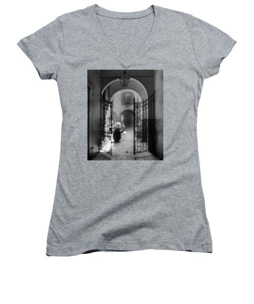 French Quarter Courtyard Women's V-Neck T-Shirt