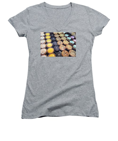 Women's V-Neck T-Shirt (Junior Cut) featuring the photograph French Tarts by Therese Alcorn