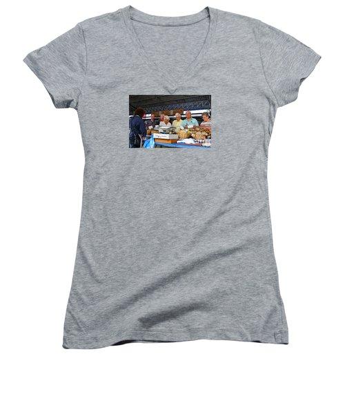 Fresh Breads Women's V-Neck T-Shirt (Junior Cut) by Allan Levin