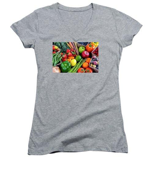 Fresh From The Farm Women's V-Neck T-Shirt (Junior Cut) by Teri Virbickis