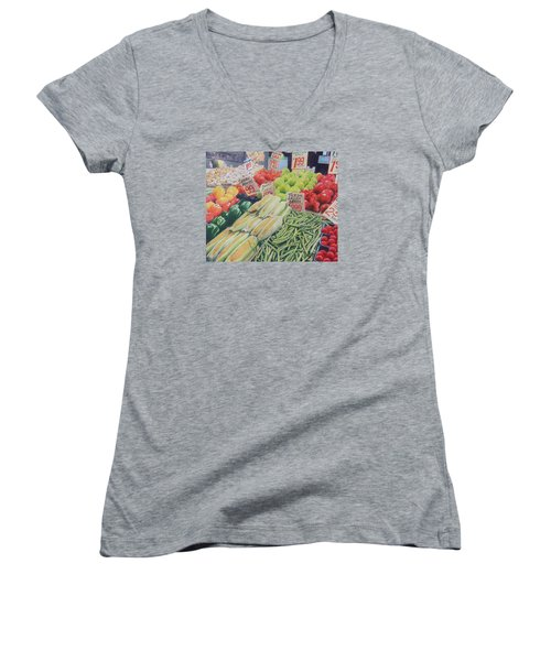Fresh Green Beans Women's V-Neck T-Shirt (Junior Cut)