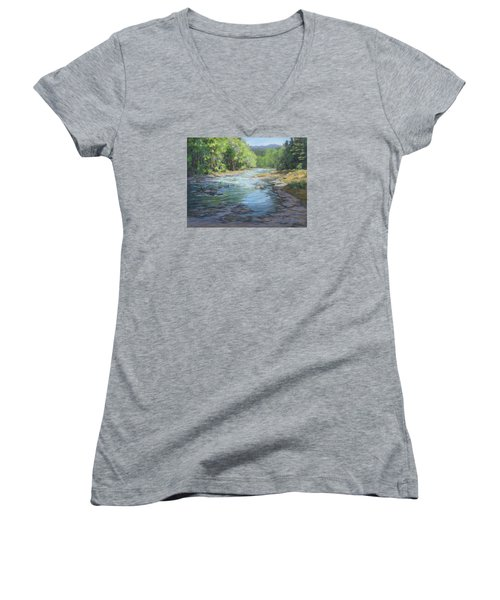 Women's V-Neck T-Shirt (Junior Cut) featuring the painting Fresh Greens by Karen Ilari
