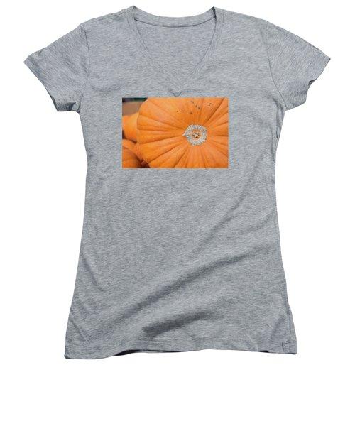 Fresh Organic Orange Giant Pumking Harvesting From Farm At Farme Women's V-Neck T-Shirt (Junior Cut) by Jingjits Photography