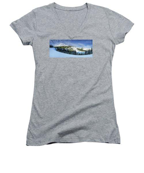 Fresh Snow At Mount Rainier Women's V-Neck T-Shirt