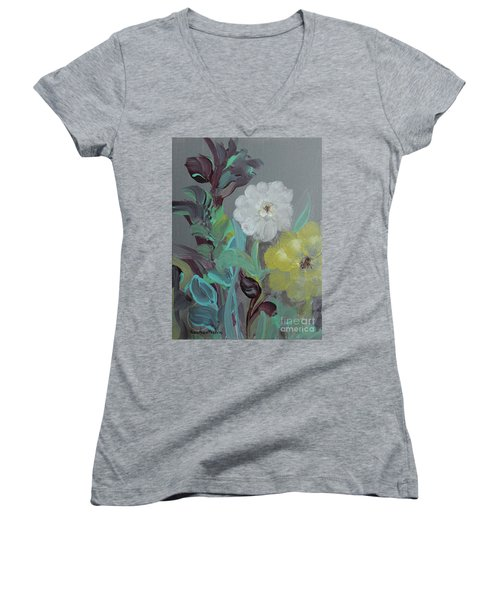 Women's V-Neck T-Shirt featuring the painting Fresh Start  by Robin Maria Pedrero