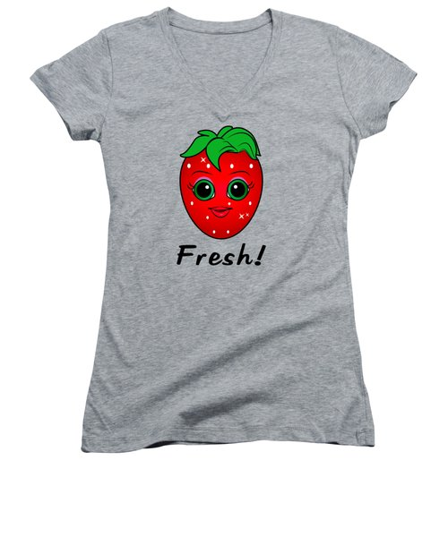 Fresh Strawberry Women's V-Neck T-Shirt (Junior Cut) by A