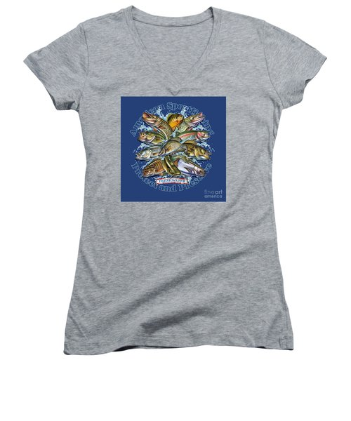 Freshwater Fish Preserve Women's V-Neck (Athletic Fit)