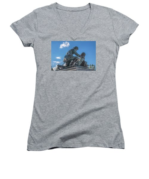 Friend To Friend Monument Gettysburg Women's V-Neck T-Shirt (Junior Cut) by Randy Steele