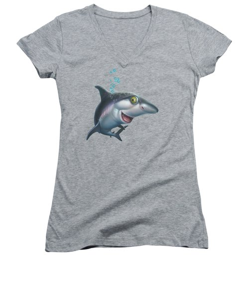 friendly Shark Cartoony cartoon under sea ocean underwater scene art print blue grey  Women's V-Neck T-Shirt (Junior Cut) by Walt Curlee