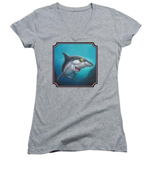 Friendly Shark Cartoony Cartoon - Under Sea - Square Format Women's V-Neck T-Shirt (Junior Cut) by Walt Curlee