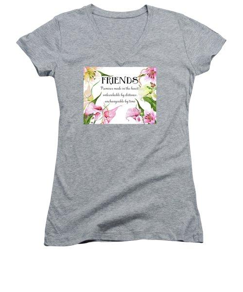 Women's V-Neck T-Shirt (Junior Cut) featuring the digital art Friends by Colleen Taylor