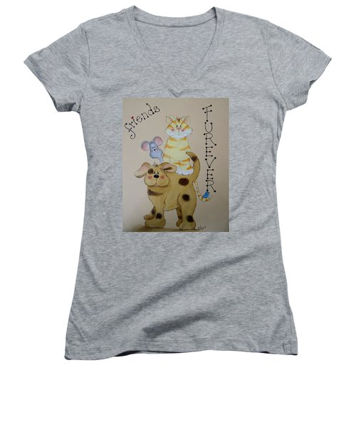 Friends Furever Women's V-Neck T-Shirt